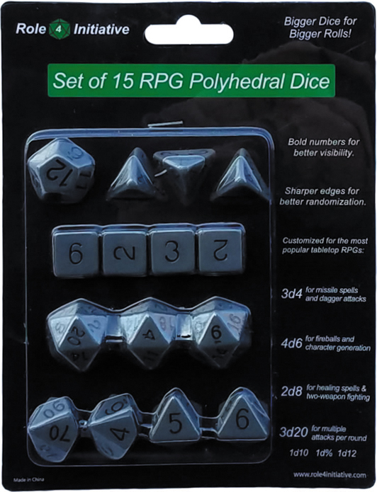 Polyhedral Dice: Opaque Dark Gray With Black Numbers - Set Of 15 Box Front