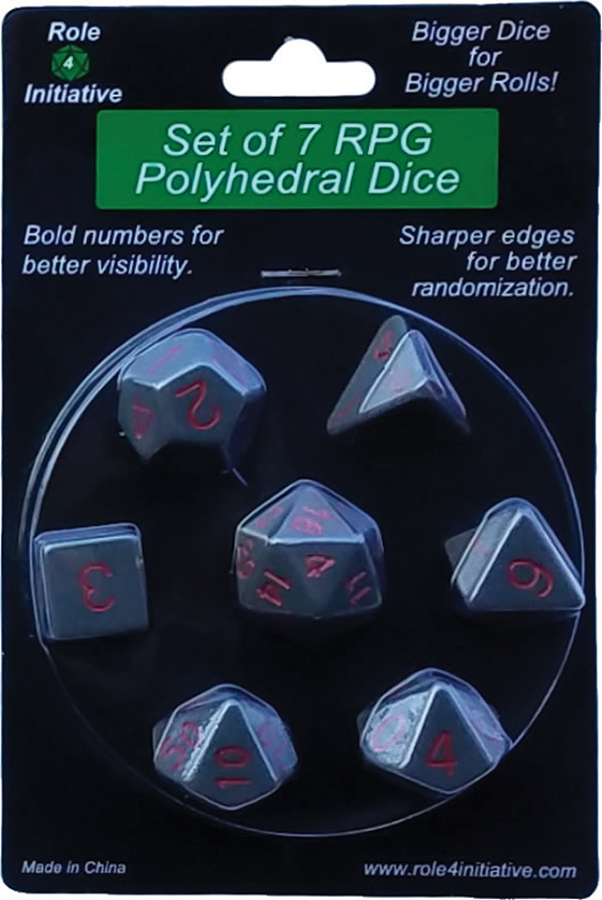 Polyhedral Dice: Opaque Dark Gray With Red Numbers - Set Of 7 Box Front