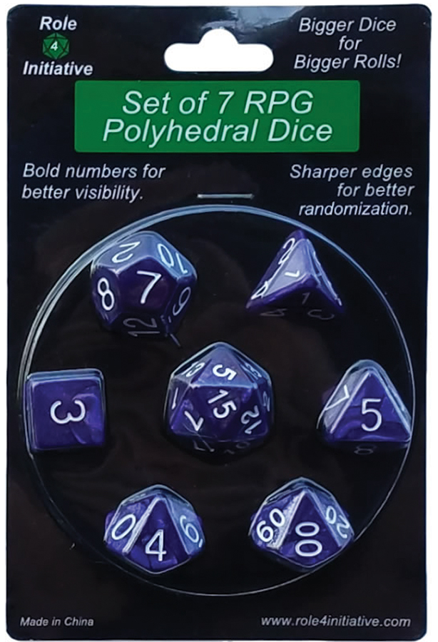 Polyhedral Dice: Marble Purple With White Numbers - Set Of 7 Box Front