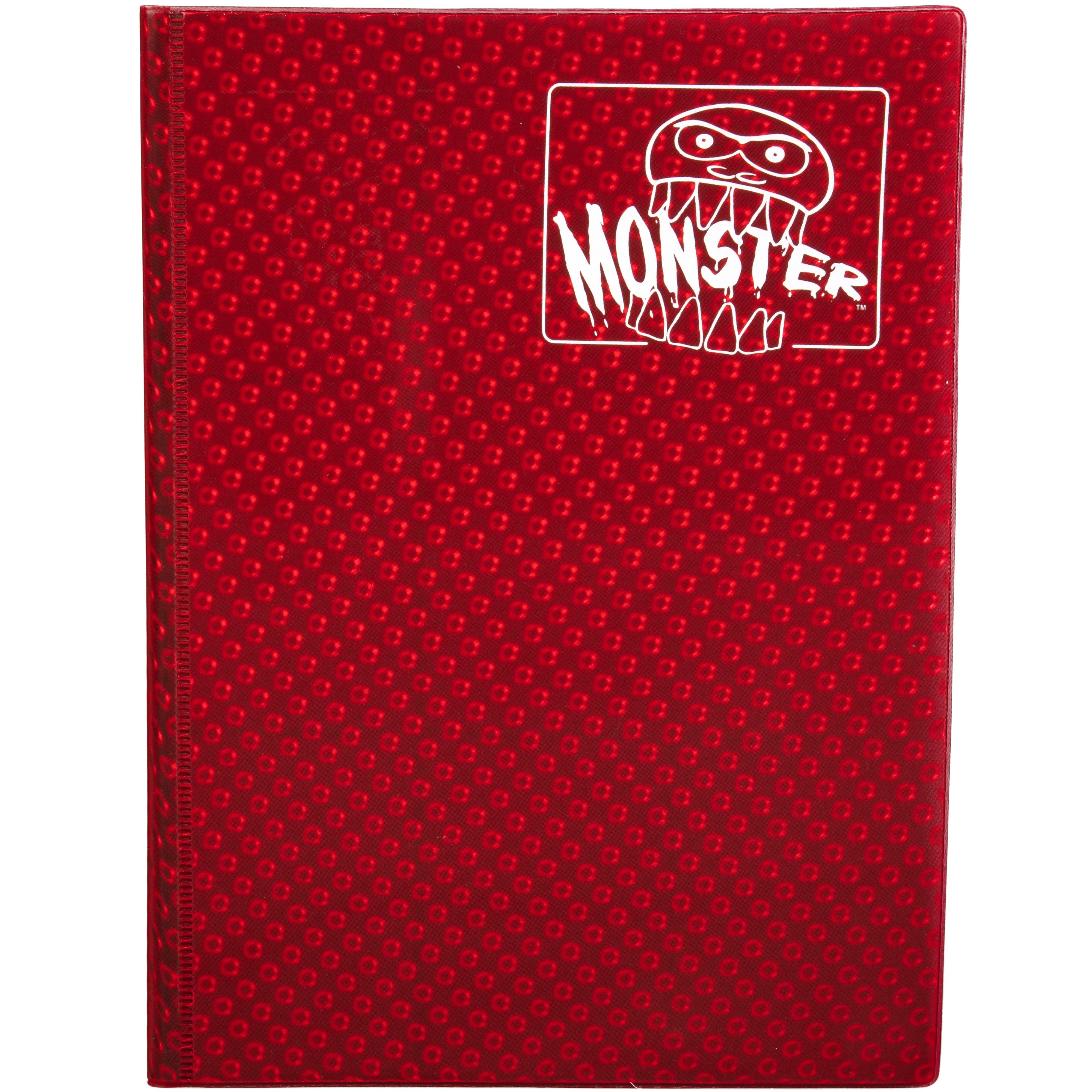 Monster Trading Card Album: 4 Pocket Binder Holofoil Red Game Box