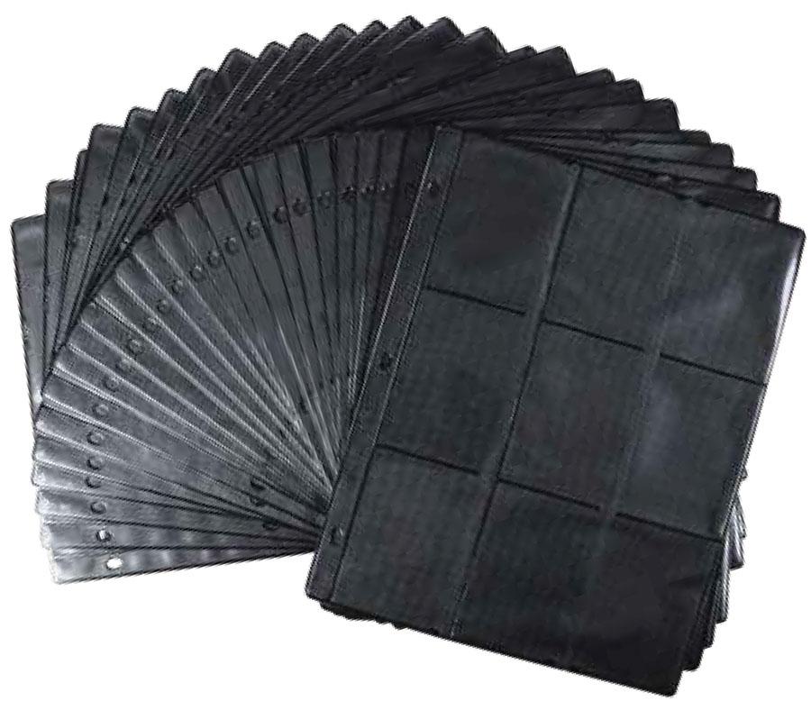 Monster 3-ring 9 Pocket Binder Pages (25) - Black Game Box
