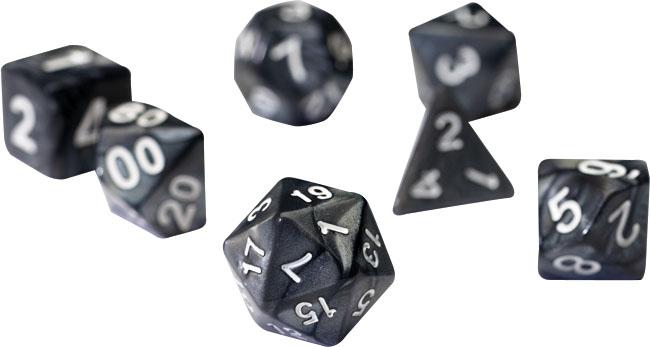 Rpg Dice Set (7): Pearl Charcoal Grey Acrylic Game Box