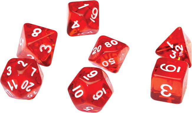Rpg Dice Set (7): Translucent Red Resin Game Box