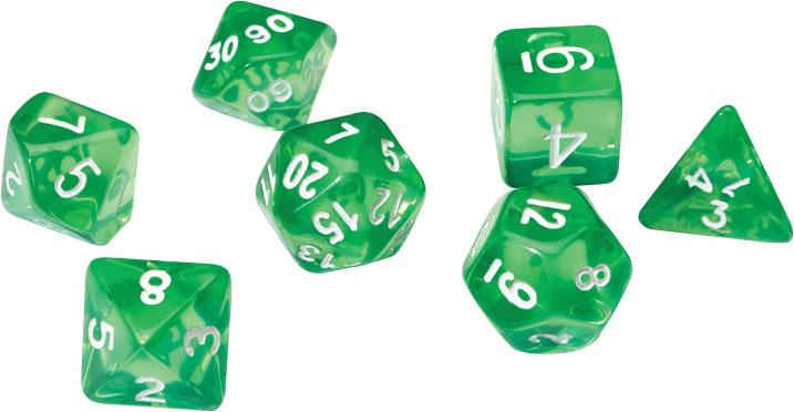 Rpg Dice Set (7): Translucent Green Resin Game Box