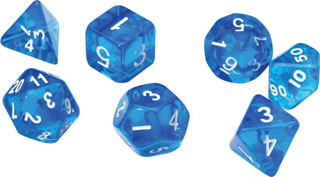 Rpg Dice Set (7): Translucent Blue Resin Game Box