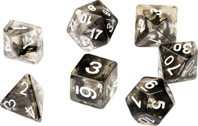 Rpg Dice Set (7): Black Cloud Transparent Resin Game Box