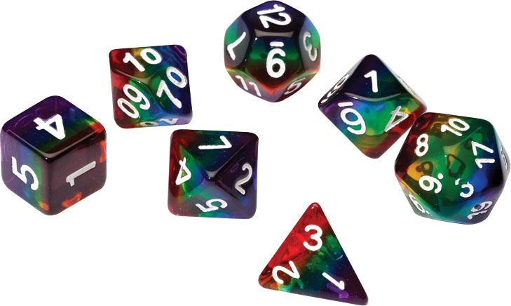 Rpg Dice Set (7): Rainbow Translucent Resin Game Box