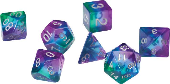 Rpg Dice Set (7): Blue Aurora Semi-transparent Resin Game Box