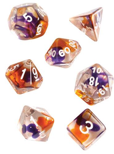 Rpg Dice Set (7): Purple, Orange Clear Game Box
