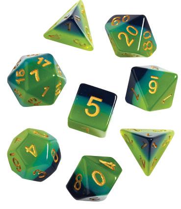 Rpg Dice Set (7): Green , Blue Translucent Game Box