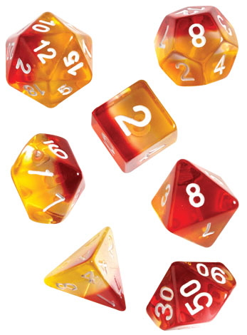 Rpg Dice Set (7): Yellow, Red Translucent Game Box