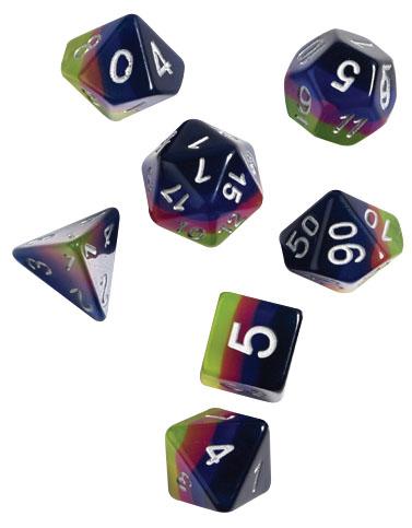 Rpg Dice Set (7): Pink, Green, Blue Game Box