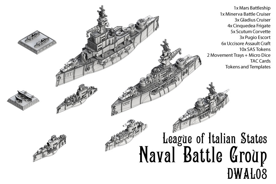 Dystopian Wars: League Of Italian States Naval Battle Group Box Front