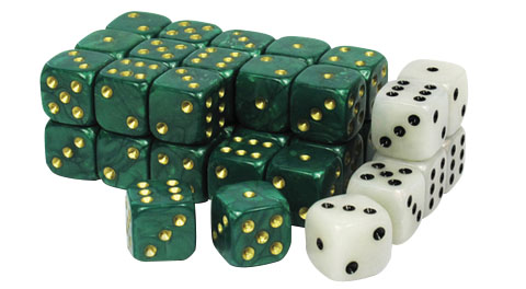 Wargaming Dice: Green Box Front