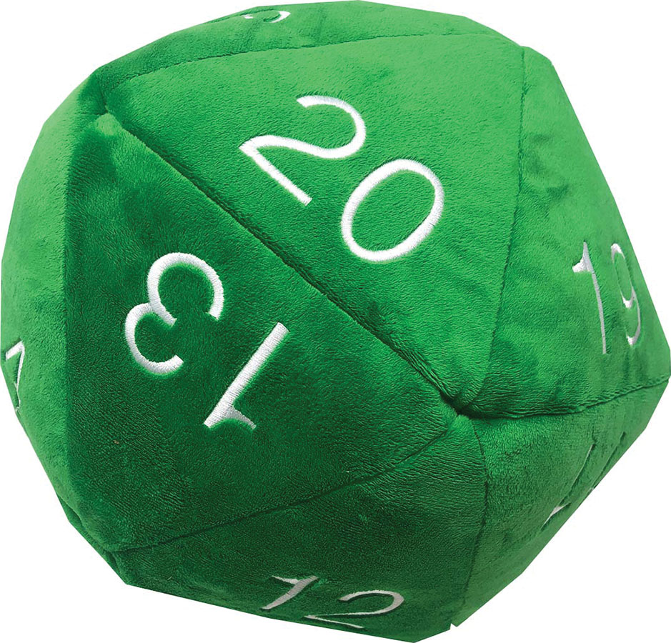 Jumbo D20 Novelty Dice Plush - Green With White Game Box