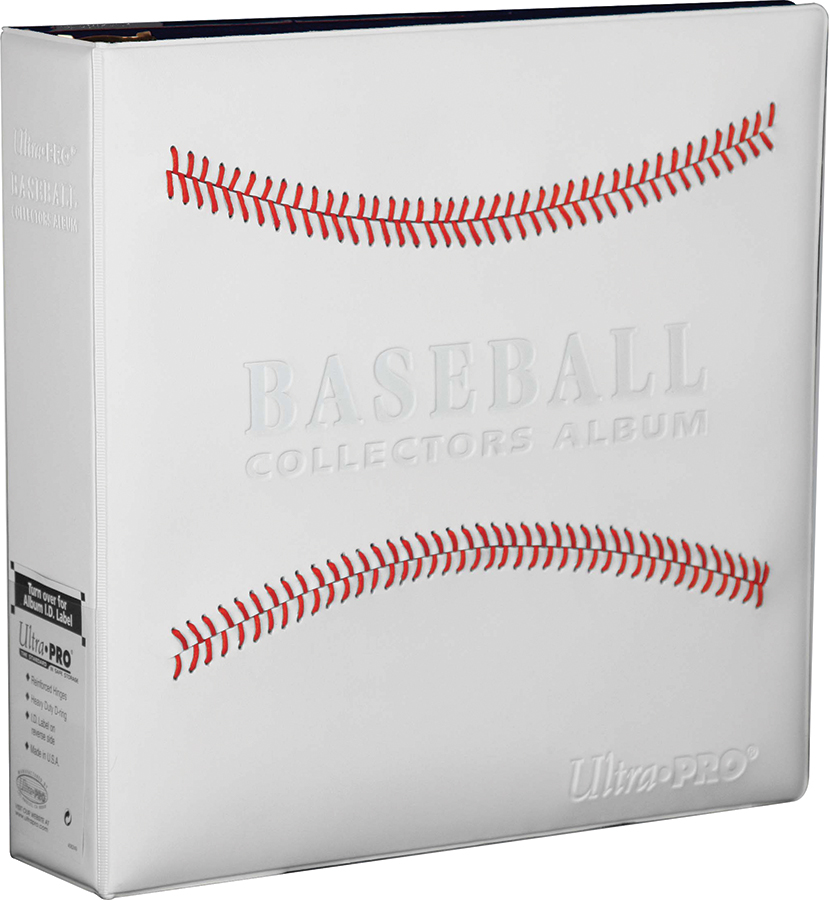 3in White Stitched Baseball Card Collectors Album Box Front