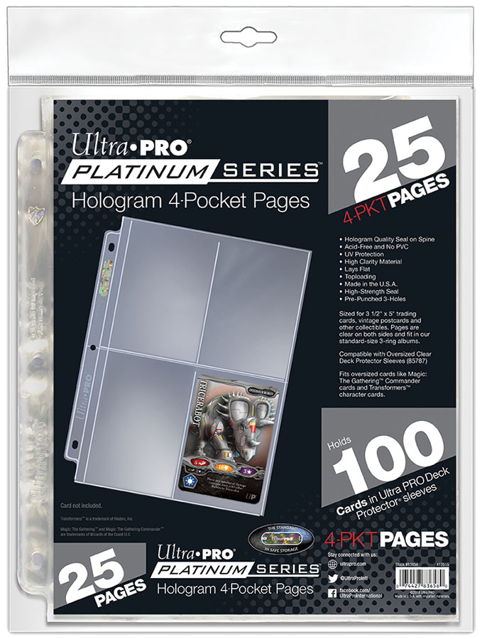4-pocket Platinum Series Pages (25) Game Box