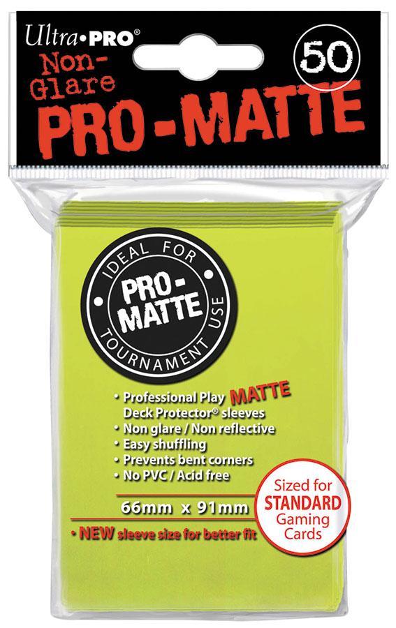 Pro-matte Standard Deck Protectors: Bright Yellow (50) Box Front
