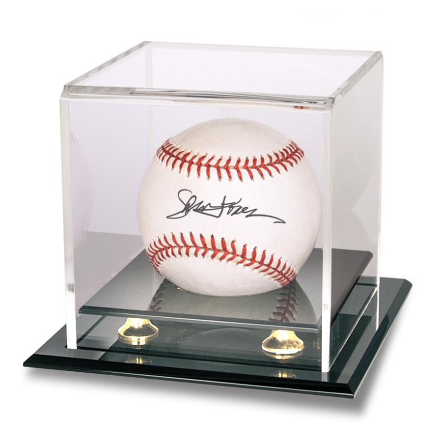 Baseball And Puck Gold Riser Display Box Front