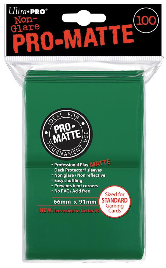 Pro-matte Standard Deck Protectors: Green (100) Box Front