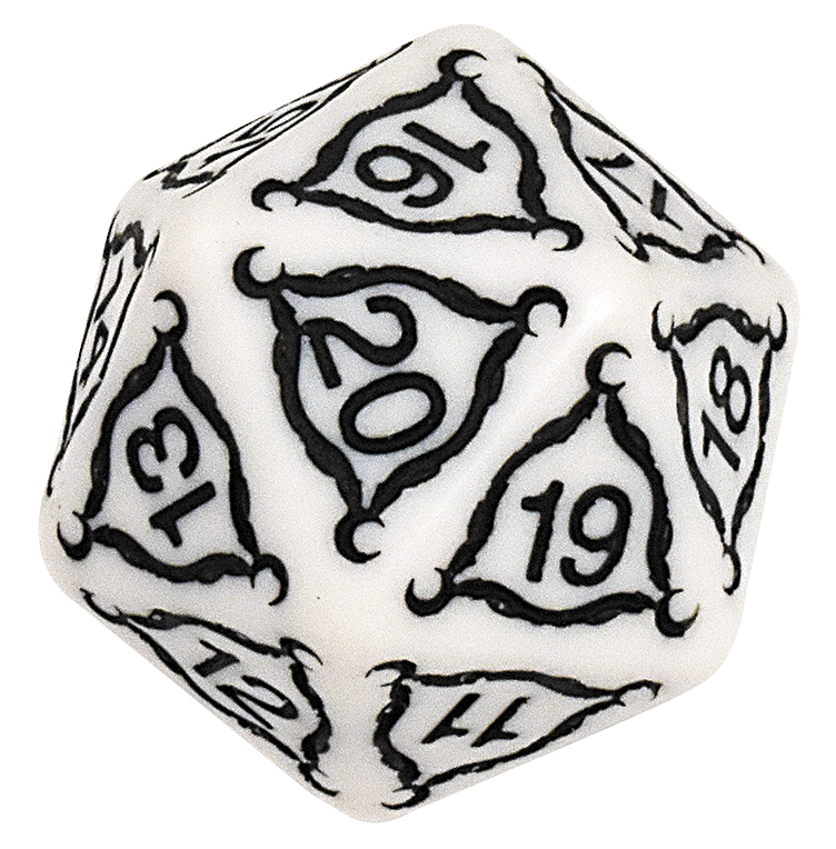 Titan 20-sided Dice - 40mm, Ivory Box Front