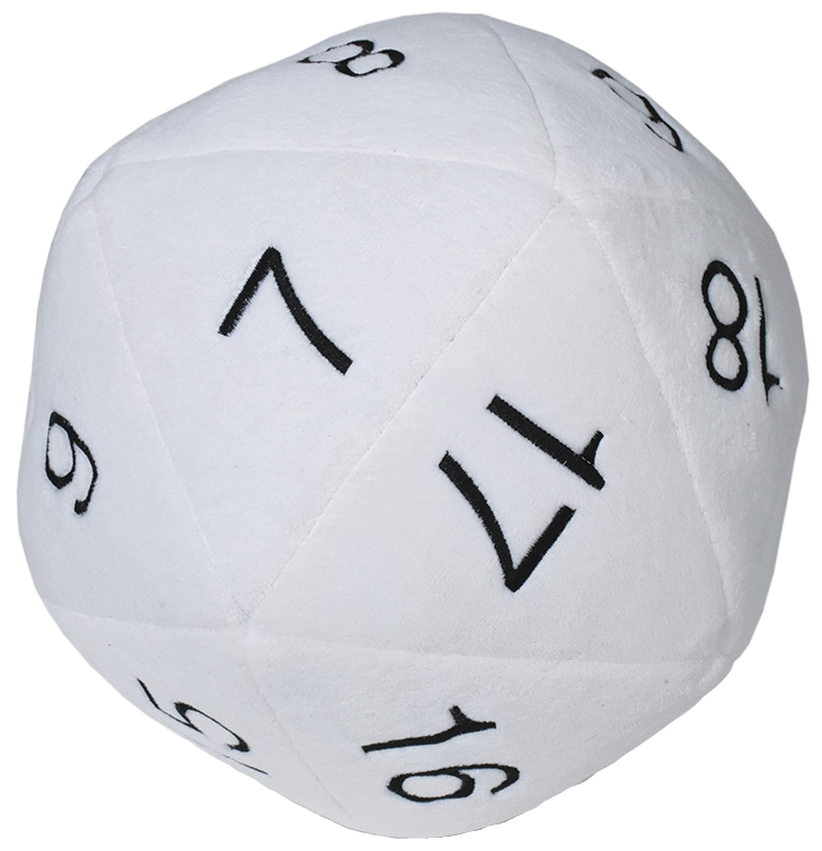 Jumbo D20 Novelty Dice Plush - White With Black Box Front