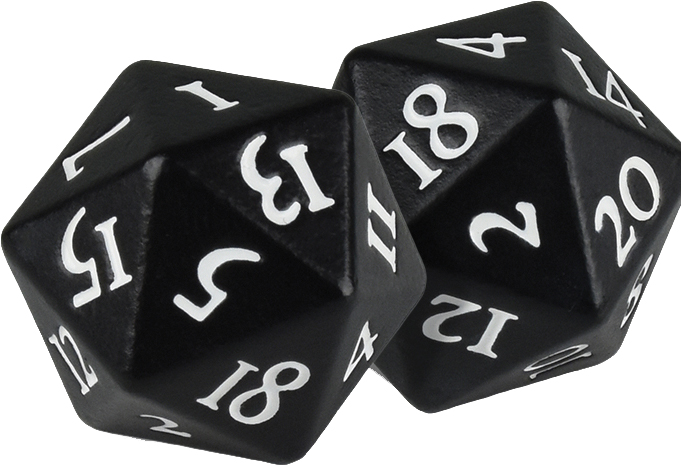 Heavy Metal D20 Dice: Black (2) Box Front