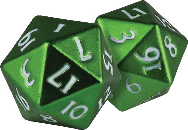 Heavy Metal D20 Dice: Green (2) Box Front