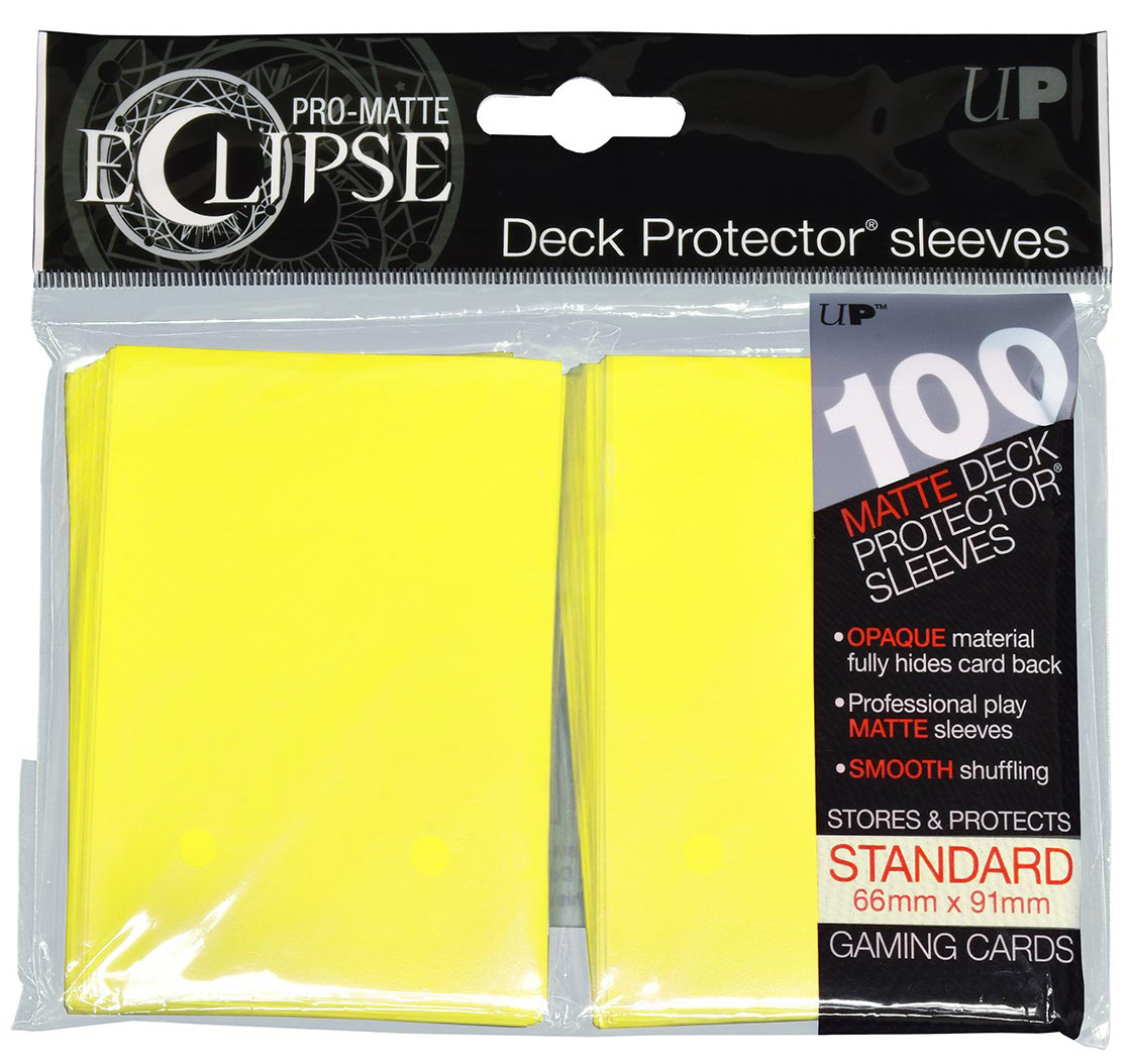 Pro-matte Eclipse 2.0 Standard Deck Protector Sleeves: Lemon Yellow (100) Box Front