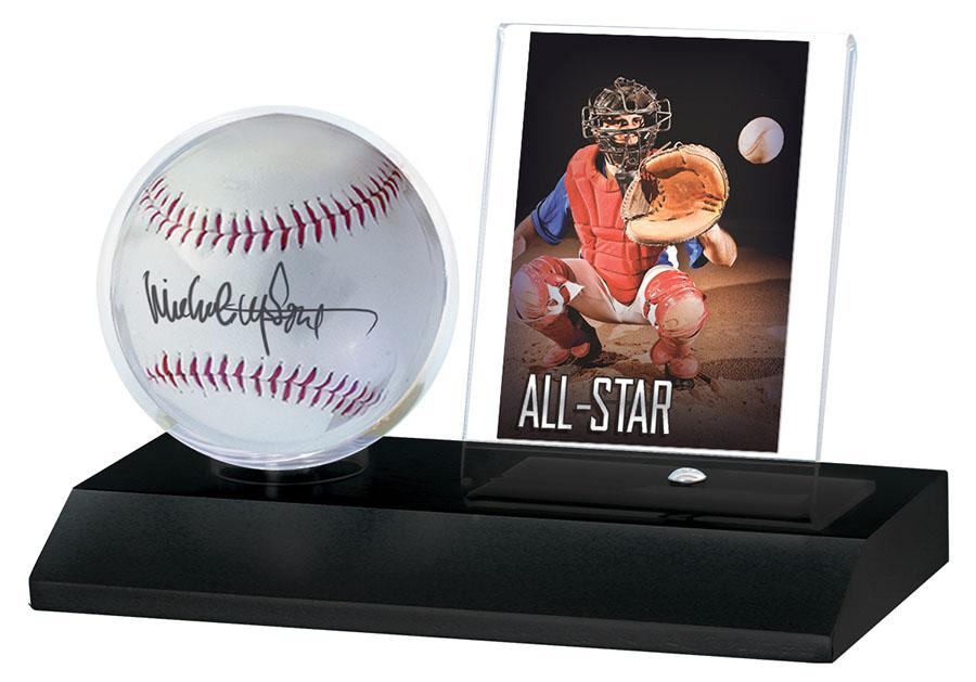 Baseball And Card Black Wood Holder Game Box