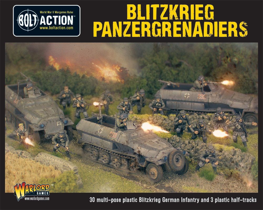 Bolt Action: Blitzkrieg Panzergrenadiers (30 Plus 3 Hanomags) Box Front