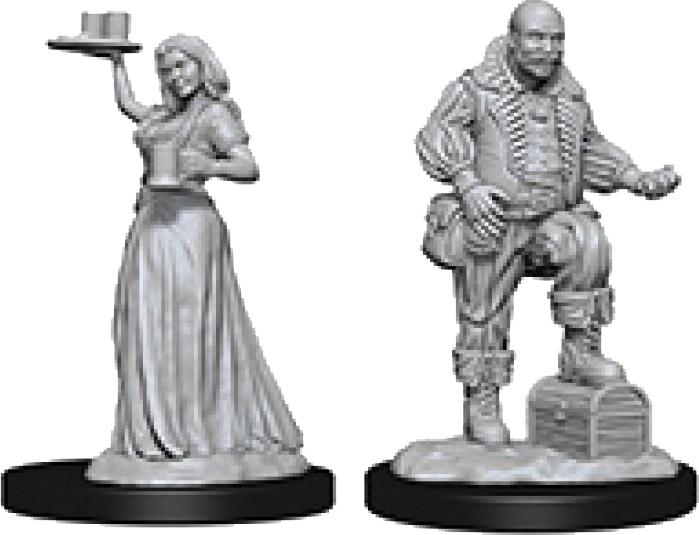Pathfinder Deep Cuts Unpainted Miniatures: Merchants (serving Girl/merchant) Box Front