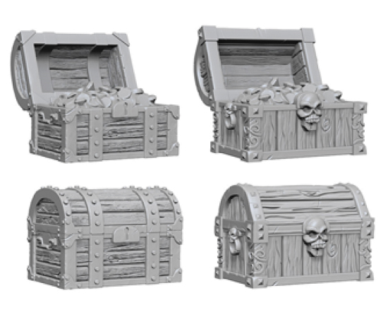 Wizkids Deep Cuts Unpainted Miniatures: Chests Box Front