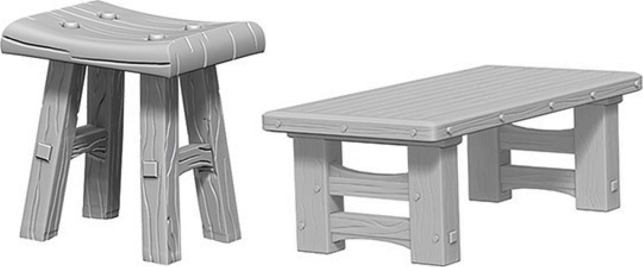 Wizkids Deep Cuts Unpainted Miniatures: Wooden Table & Stools Box Front