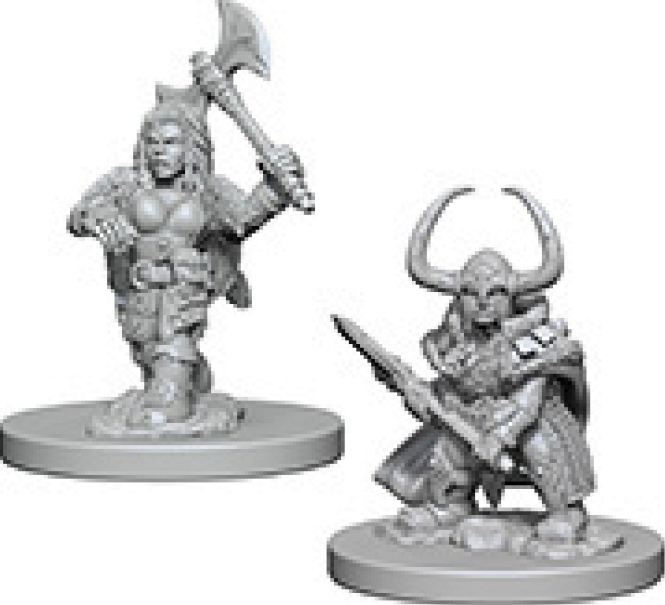 Dungeons & Dragons Nolzur`s Marvelous Unpainted Miniatures: Dwarf Female Barbarian Box Front