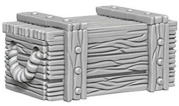 Wizkids Deep Cuts Unpainted Miniatures: Crates Box Front