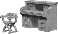Wizkids Deep Cuts Unpainted Miniatures: Desk & Chair Box Front