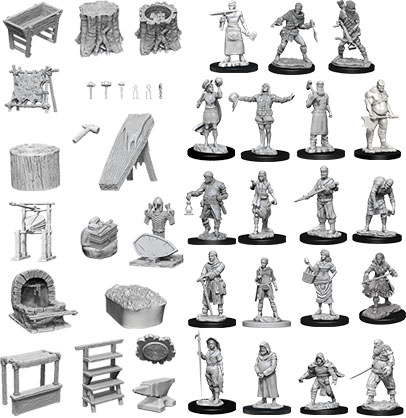 Wizkids Deep Cuts Unpainted Miniatures: W8 Townspeople & Accessories Game Box