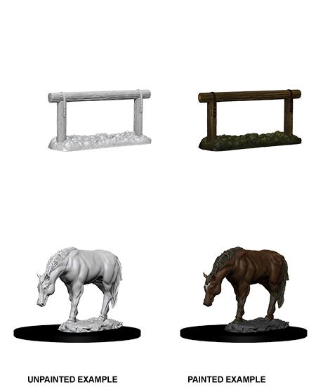 Wizkids Deep Cuts Unpainted Miniatures: W10 Horse & Hitch Game Box