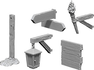 Wizkids Deep Cuts Unpainted Miniatures: W10 Signs & Lights Game Box